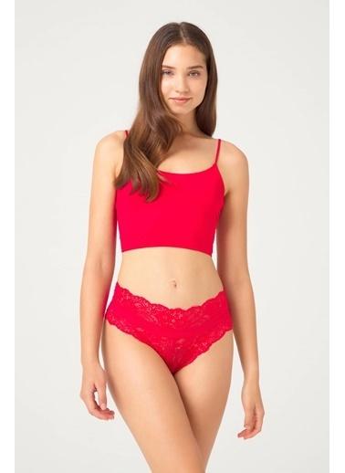 Cottonhill Vişne Transparan Dantelli Lastik Detaylı Kadın Hipster Külot Kırmızı